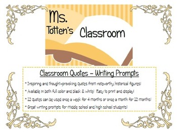 Classroom Quotes - Writing Prompts & Posters
