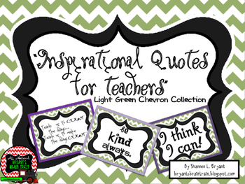Classroom Quotes and Typography for Teachers (Light Green Chevron)