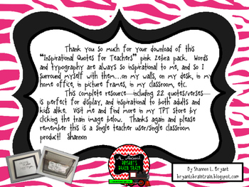 Classroom Quotes and Typography for Teachers (Pink Zebra Theme)