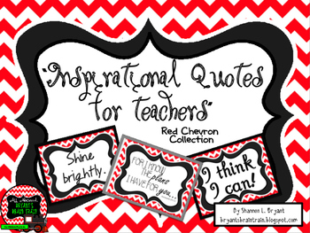 Classroom Quotes and Typography for Teachers (Red and White Chevron)