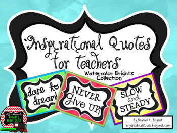 Classroom Quotes and Typography for Teachers (Watercolor Brights Theme)
