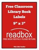"Classroom ""Readbox"" Labels - Free Book Rentals. Please Return. {Free Download}"