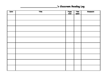 Classroom Reading Log - Grade 3, 4, 5 or 6