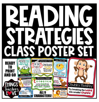 Classroom Reading Strategies - Poster Set (9 posters/pages) - Australian A4 Size