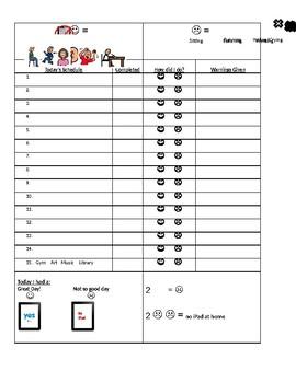 Classroom Reinforcement Chart