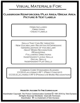 Classroom Reinforcers/Toys Picture & Text Labels