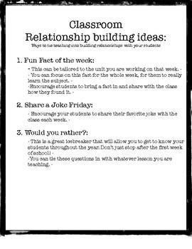 Classroom  Relationship building ideas