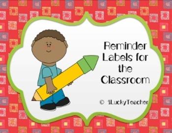 Classroom Reminder Labels
