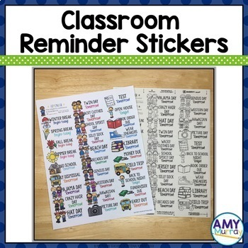 Reminder Stickers for the classroom