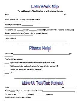 Classroom Request Slips