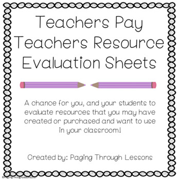 Classroom Resource Evaluation Sheets