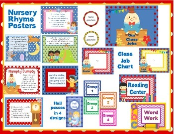 Classroom Resources (Nursery Rhyme Theme) for Back to School