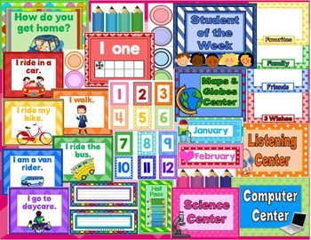 Classroom Resources for Back to School (Rainbow Color Theme)