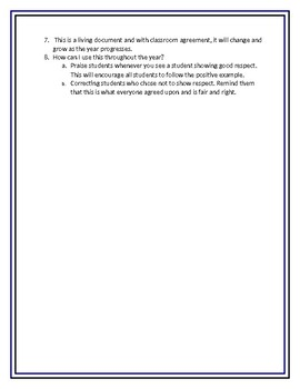 Classroom Respect Agreement