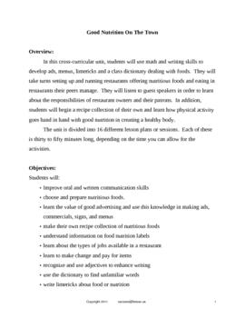 Classroom Restaurant Simulation - Nutrition Lessons Unit