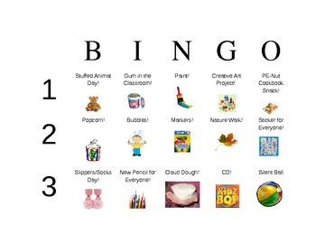 Classroom Reward Bingo