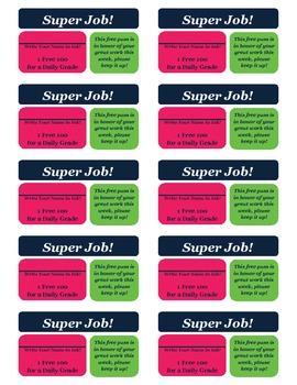 Classroom Reward Cards
