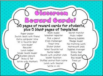 Classroom Reward Cards (super cute for elementary)