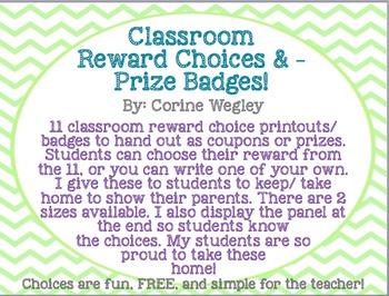 Classroom/Student Reward Choices & Prize Badges