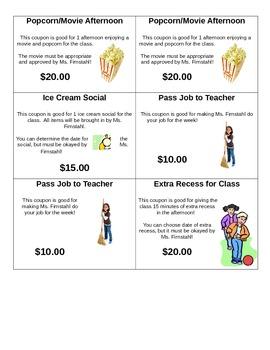 Classroom Reward Coupons!