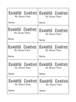 Printer Friendly Classroom Reward Coupons with Rewards Point Menu