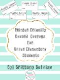 Printer Friendly Classroom Reward Coupons with Rewards Point Menu