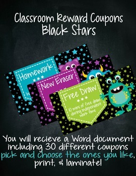 Classroom Reward Coupons Black Stars