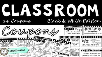 Classroom Reward Coupons (Black and White Edition)