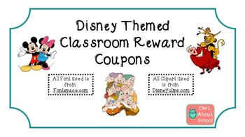 Classroom Reward Coupons Disney Themed