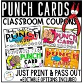 Homework Punch Cards | Classroom Behavior Reward | Study H