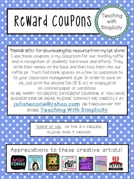 Classroom Reward Coupons/Incentives