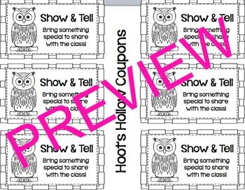 Classroom Reward Coupons (Owl-Themed)