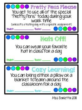 Classroom Reward Coupons ((Positive Reinforcement))