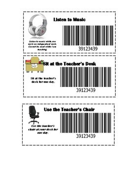 Classroom Reward Coupons, Positive Reinforcement