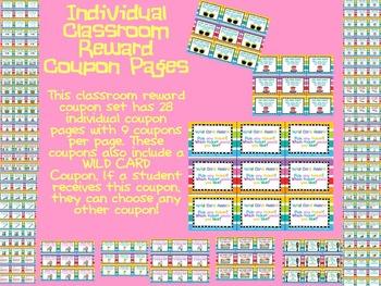 Classroom Reward Coupons Set 2- Small Size
