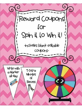 Classroom Reward Coupons for Spin it to Win it Color Prize Wheel