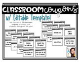 Classroom Reward Coupons with EDITABLE Template