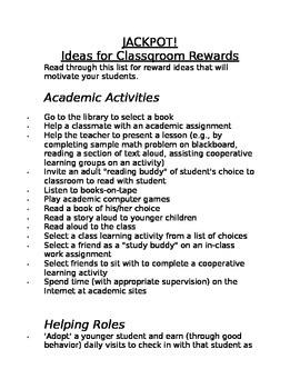 Classroom Reward IDEAS