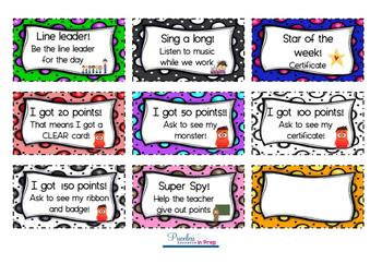 Classroom Reward Incentive Cards