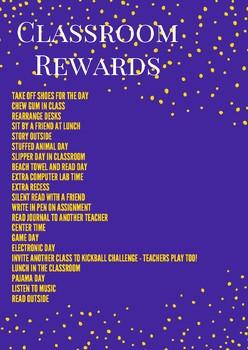 Classroom Reward Poster