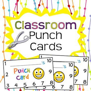 Classroom Reward Punch Cards Digital Download By Unique Scrap Designs