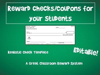 Classroom Reward Template - Realistic Checks for Reward System *Editable*