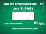 Classroom Reward Template - Realistic Checks for Reward Sy