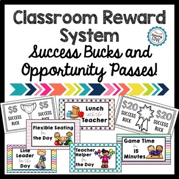 Classroom Reward System with Success Bucks and Opportunity Passes!