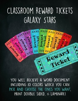 Classroom Reward Tickets Galaxy Stars