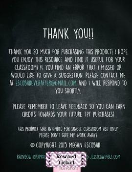 Classroom Reward Tickets Rainbow Patterns