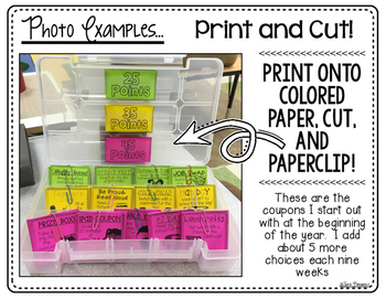 Classroom Reward and Incentive Coupons- Little to NO COST!