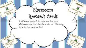 Classroom Rewards Cards! 8!