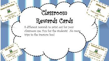 Classroom Rewards Cards! 8!