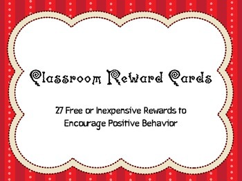Classroom Rewards Cards